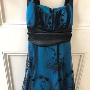 Teal blue with black lace homecoming dress!